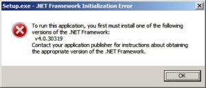 Ошибка .Net Framework 4