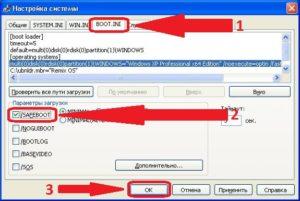 Безопасный режим Windows XP через Параметры загрузки
