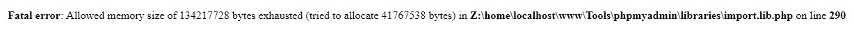Ошибка: Fatal error: Allowed memory size of * bytes exhausted (tried to allocate * bates) in * on line *.